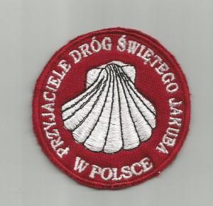Naszywka Stowarzyszenie Przyjaciele Dróg św jakuba w Polsce