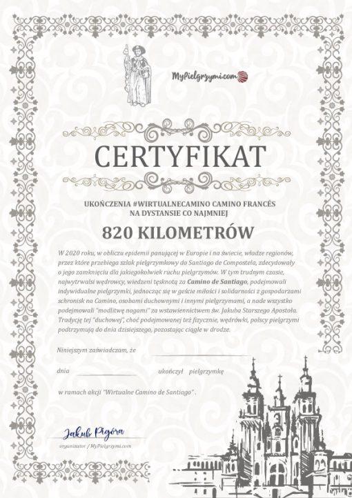 Certyfikat przejścia Camino Frances 820 kilometrów