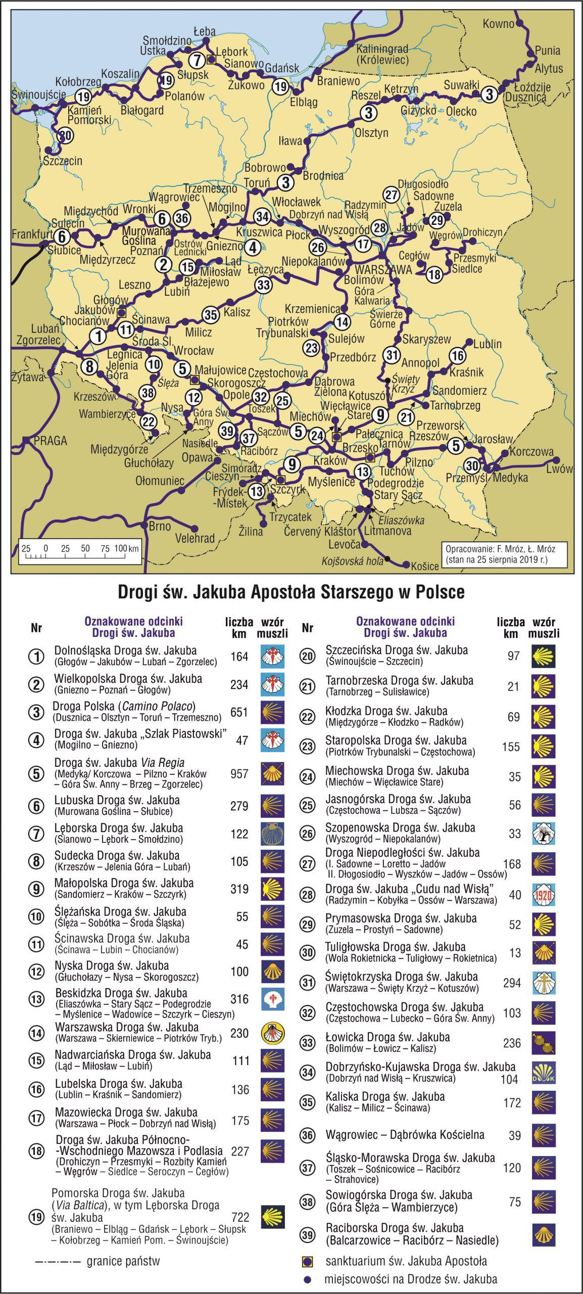 Camino de Santiago Szlak św Jakuba w Polsce MAPA autor: Franciszek Mróz, Łukasz Mróc