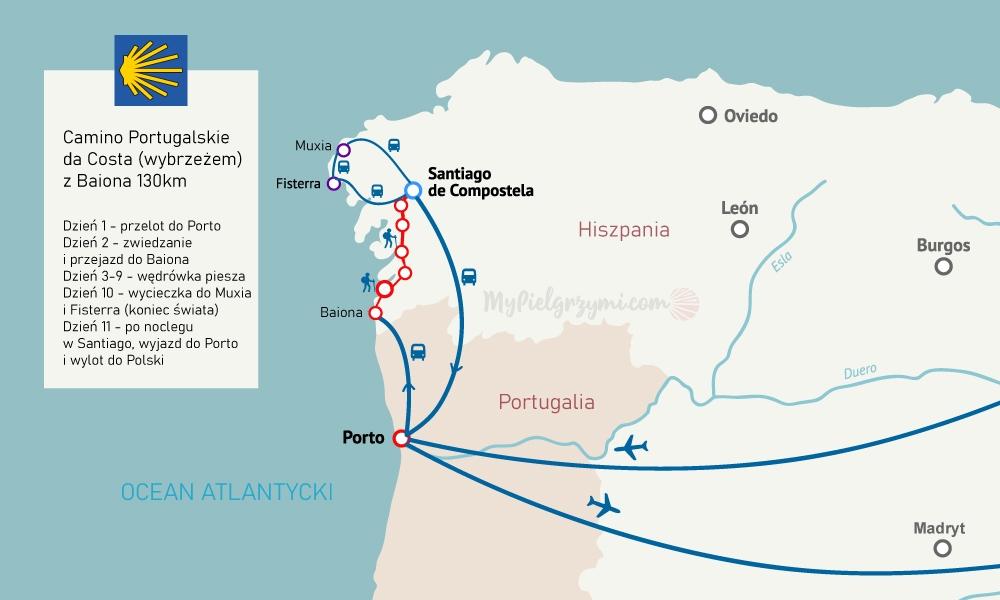 Camino nadmorskie wybrzeżem da Costa