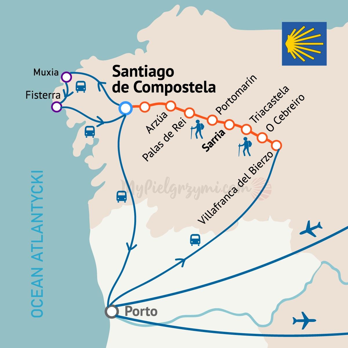 Camino szlakiem z Villafranca mapa