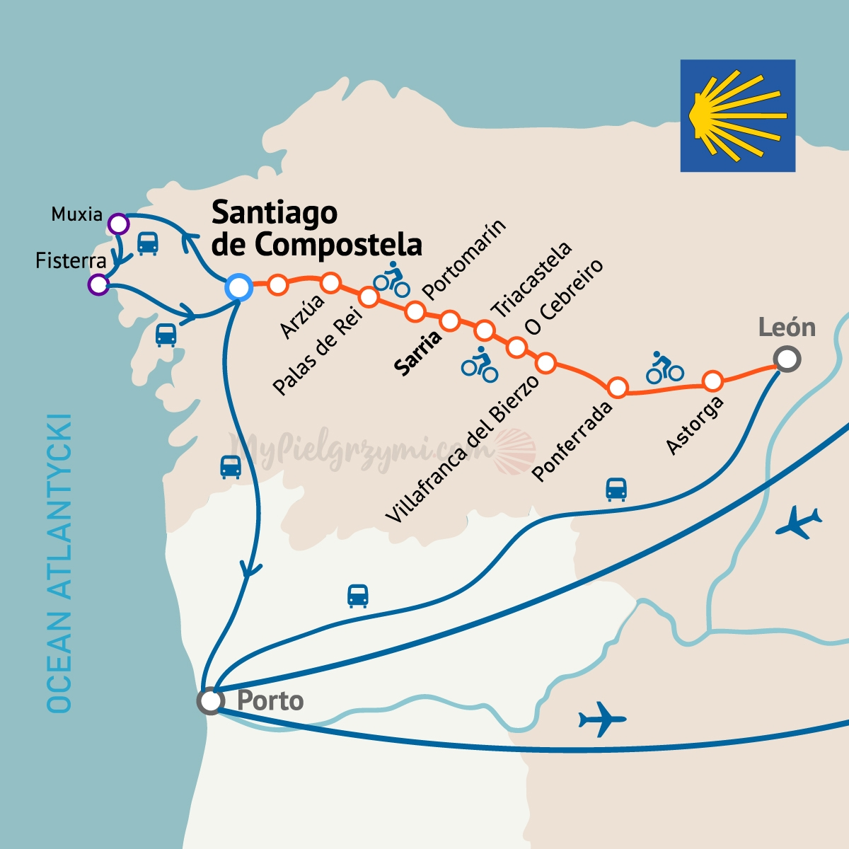 Camino Frances Rowerem Mapa Trasa