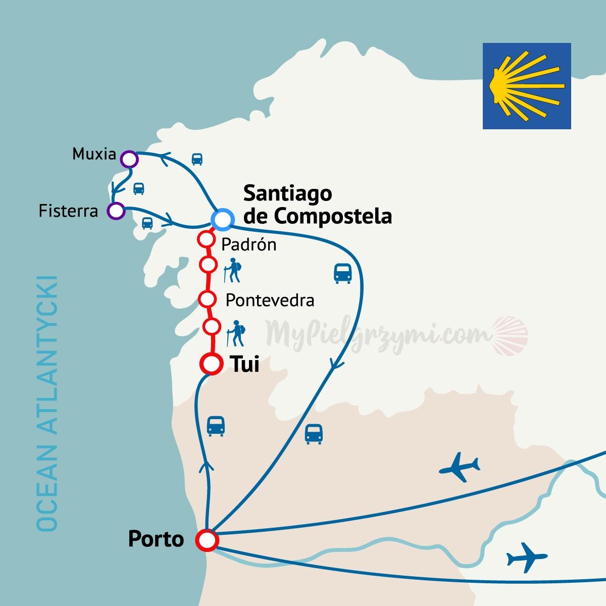 Camino Portugalskie z Tui centralne 115km MAPA