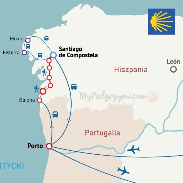 Camino Portugues wybrzeżem MAPA